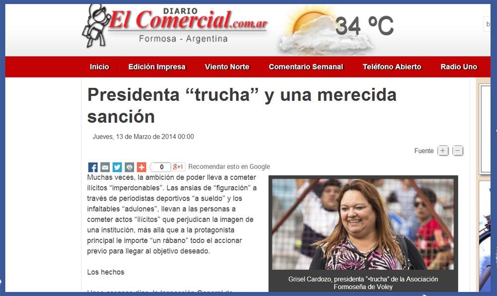 Captura de pantalla: Diario El Comercial on line.